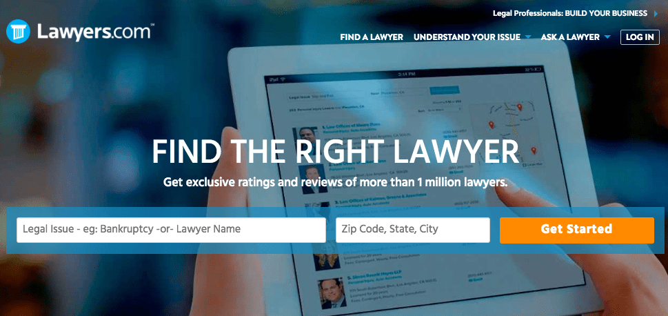 Lawyers.com home page