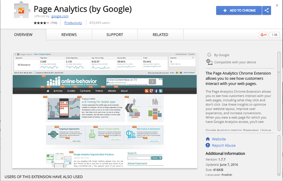 Page Analytics Google Chrome extension