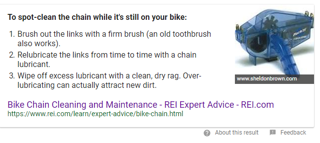REI advice article appearing on Google's quick answer box for search term 'bike chain cleaning'