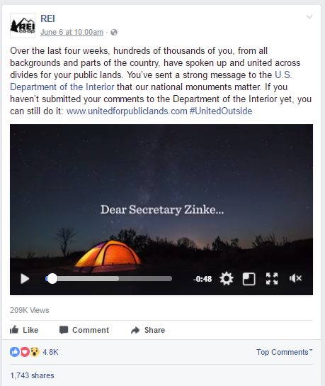 REI Facebook post on protecting public lands and national monuments