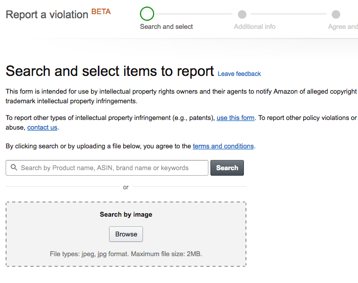 The Report a Violation Screen of Brand Registry 2.0