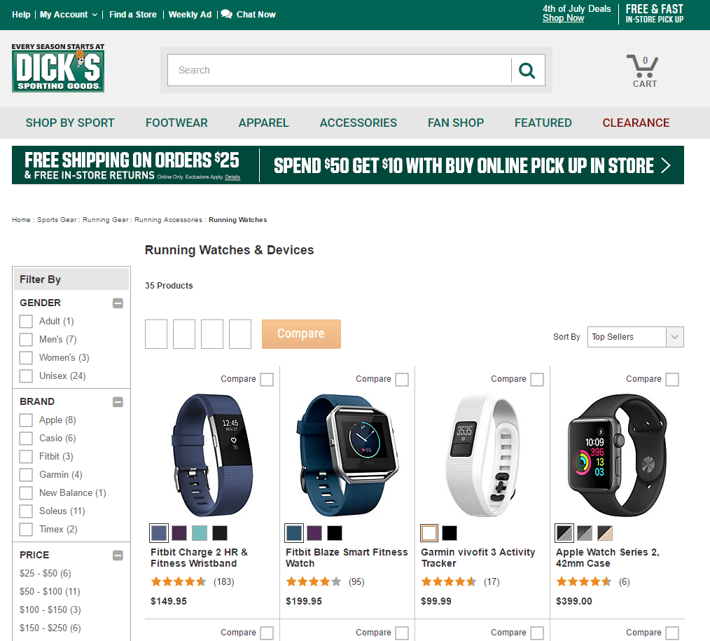 Screenshot of Running Watches Category Page