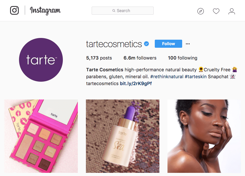 TarteCosmetics Instagram account highlighting what makes them stand out: cruelty-, gluten-, paraben-, mineral oil-free