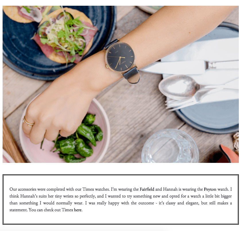 Influencer Amelia Liana's blog post featuring a Timex product