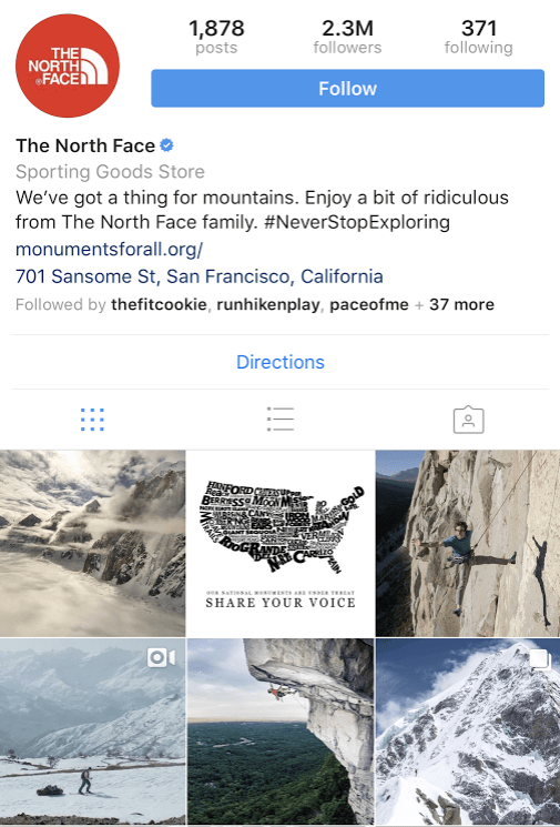 North Face Instagram account sharing landscape photos