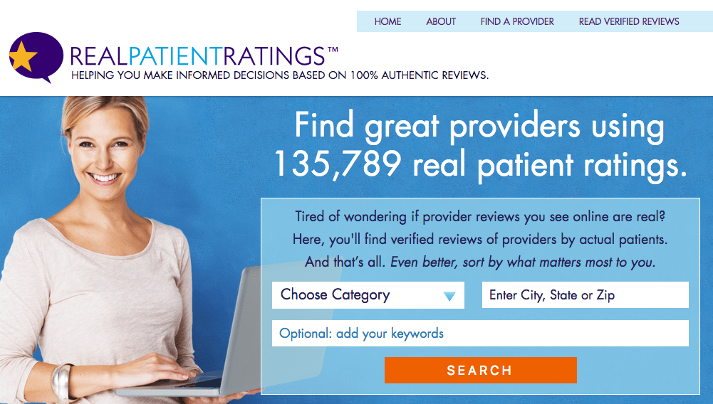 RealPatientRatings.com home page