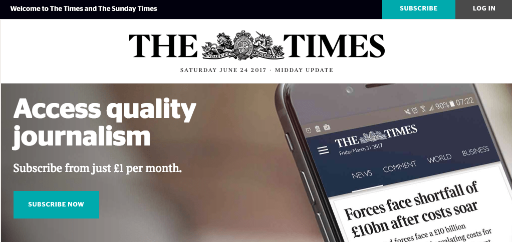 Times Of London paywall