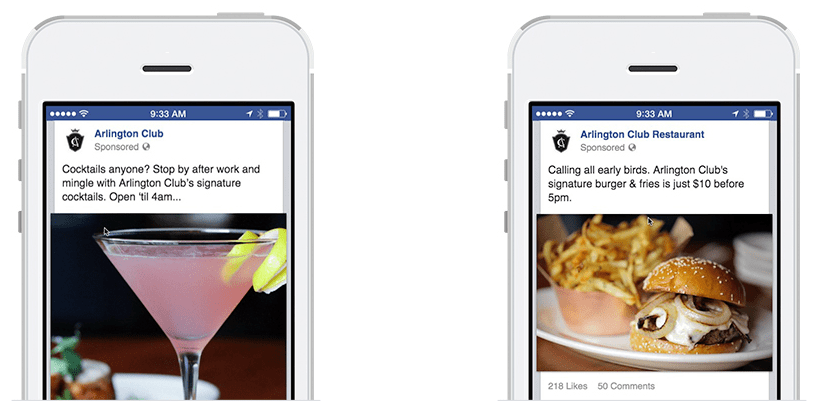 Sample Facebook ads designed specifically for certain demographics
