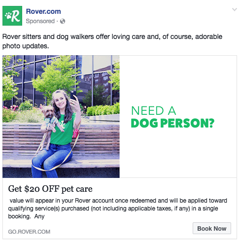 Sample Facebook ad using a color other than blue