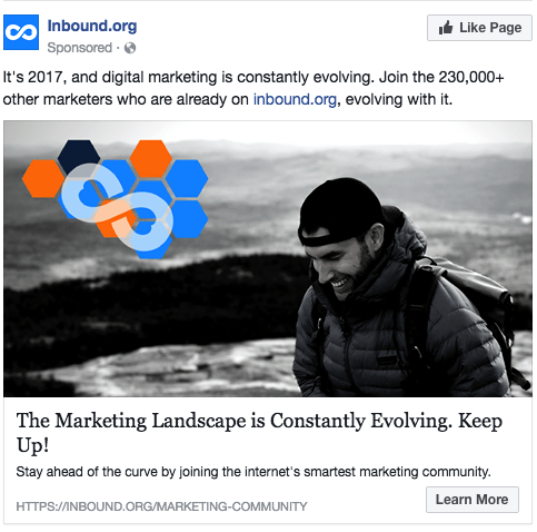 Sample Facebook ad with a link to website in ad copy