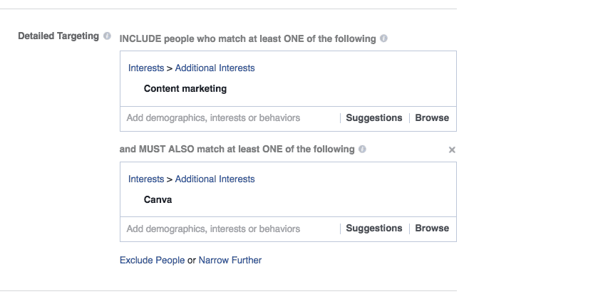 Facebook ads detailed targeting includes adding interests of your audience