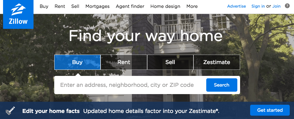 Zillow.com home page