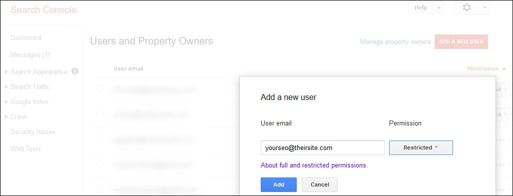 Adding a new user in Google Search Console