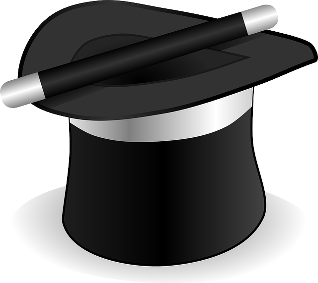 A magician's black hat and wand to represent cloaking