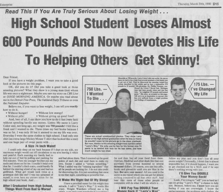 Old weight loss ad