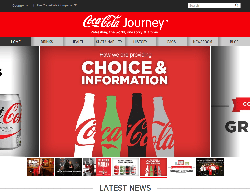 Coca Cola Journey home page