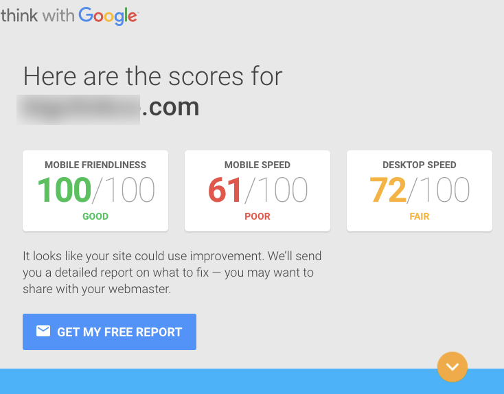 Google's mobile speed testing tool