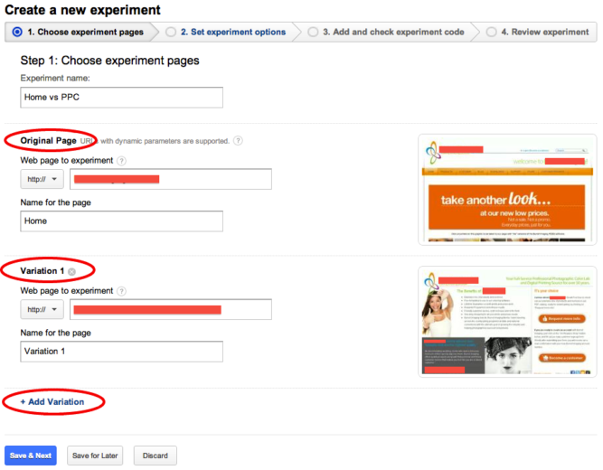Create Analytics Experiments