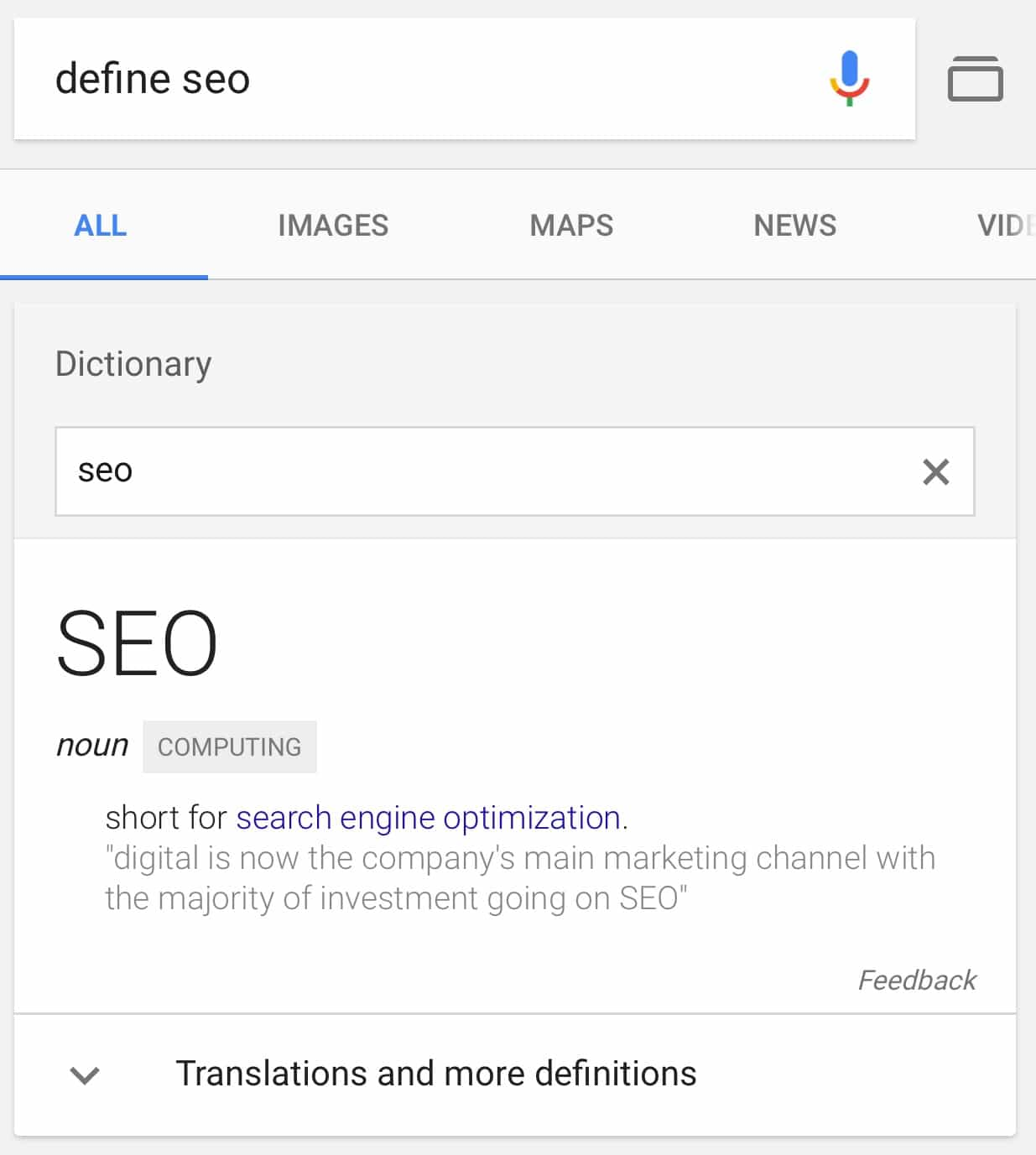 Google Adds a Search Box to Dictionary Cards