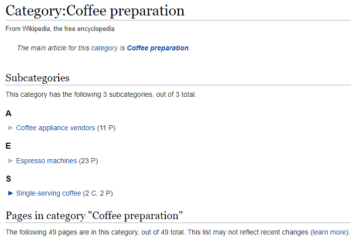Wikipedia subcategories screenshot