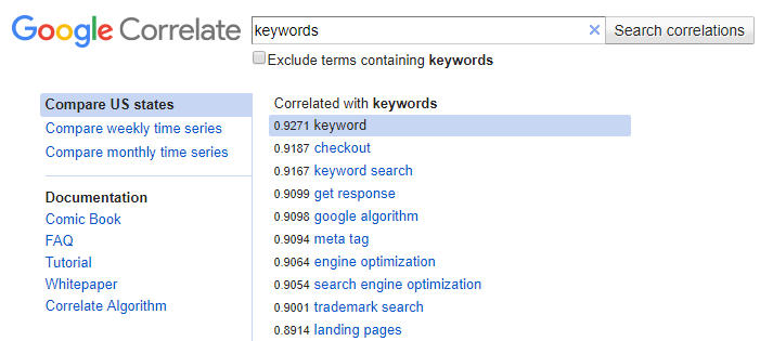Google Correlate Screenshot
