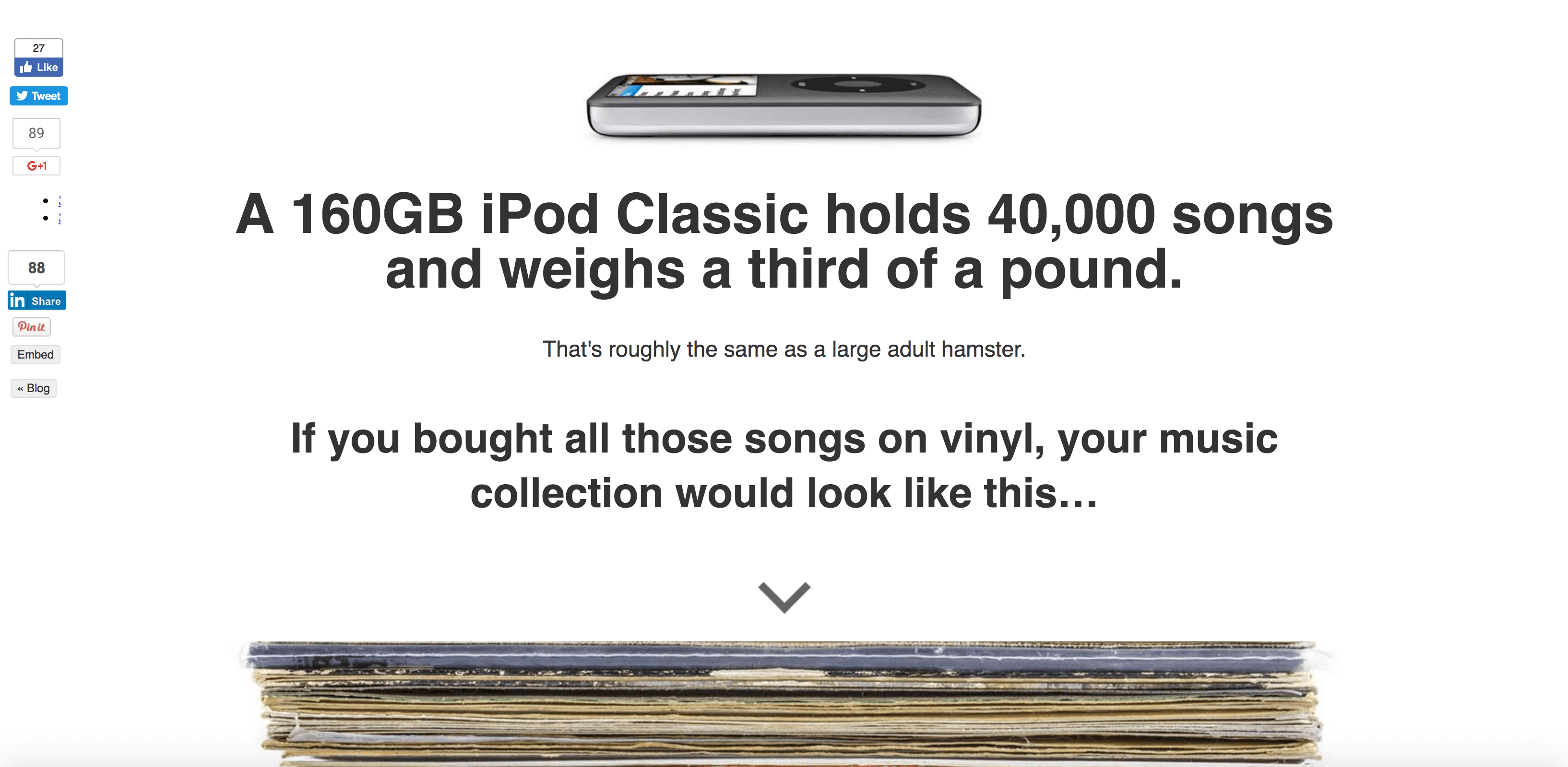 'The Capacity of an iPod Visualized as Vinyl' Screenshot