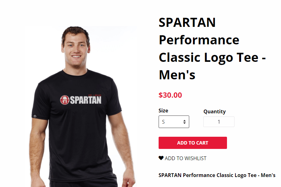 Screenshot of Spartan Race product page