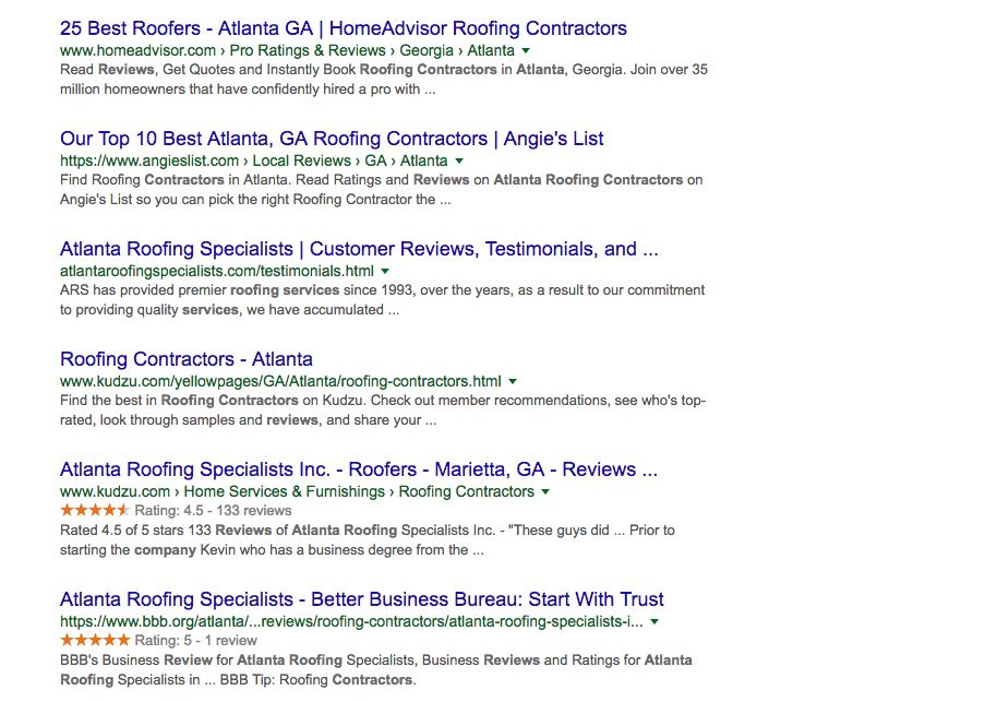 Google search results for Atlanta roofing company reviews