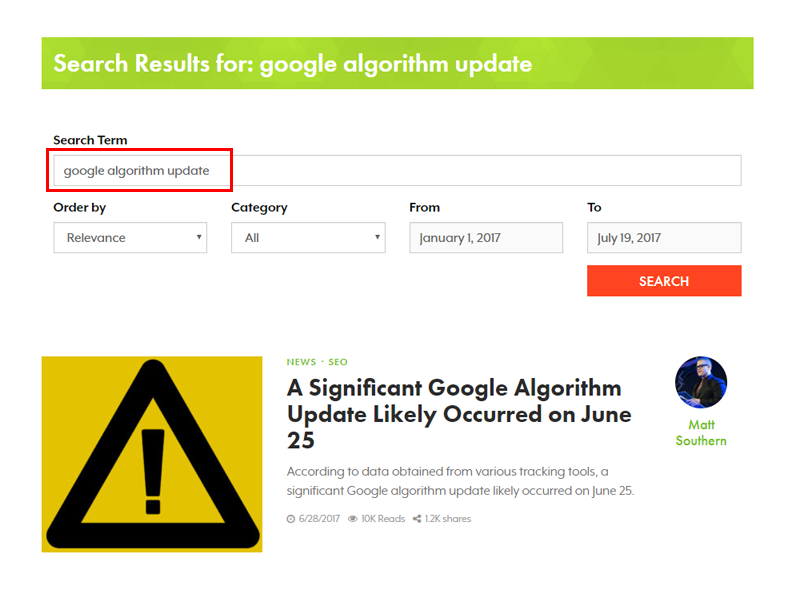 SEJ Search for Algorithm Update