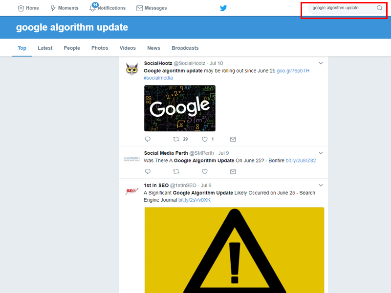 Twitter Search for Google Algorithm Update