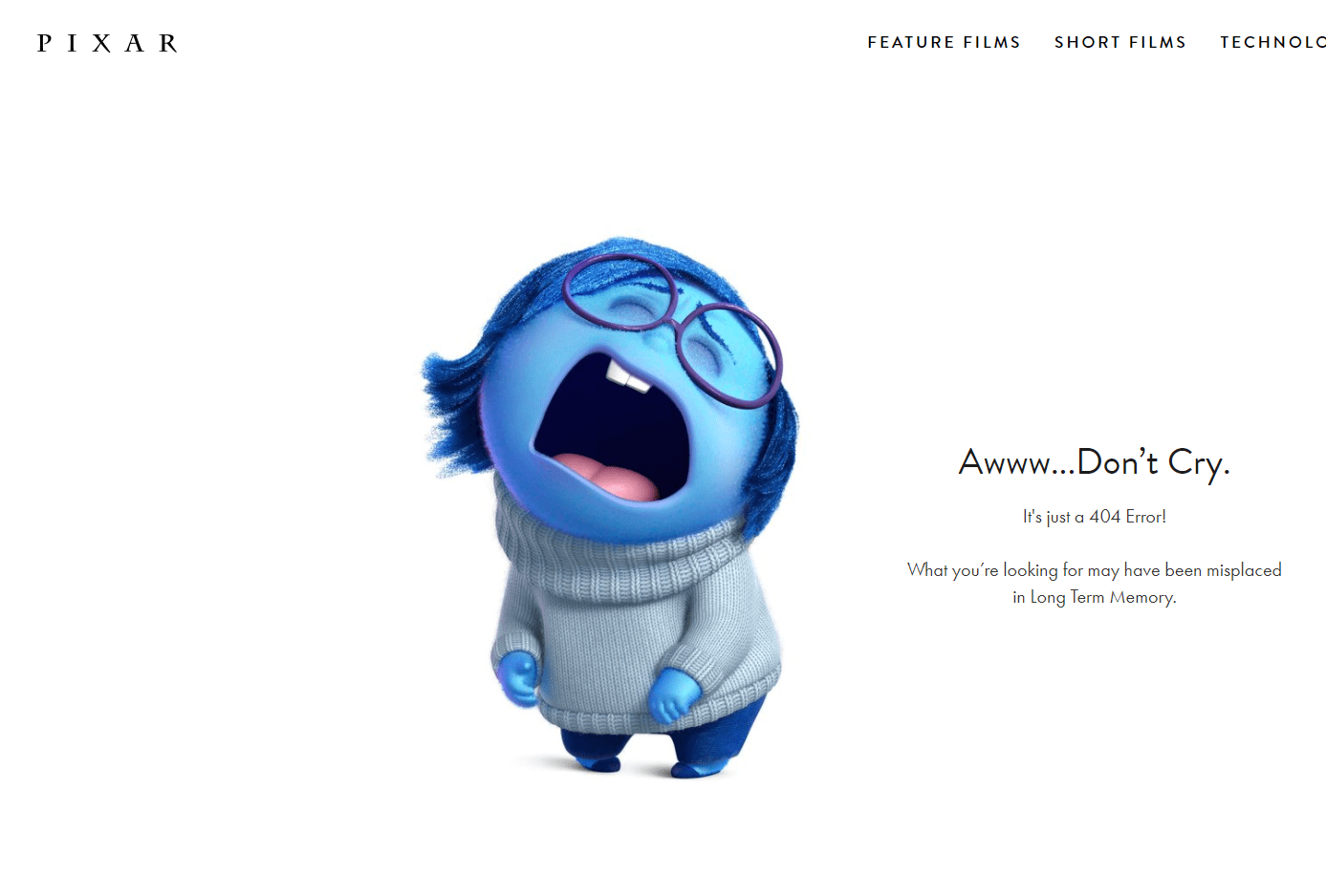 Pixar 404 error page example