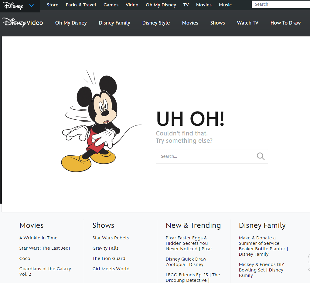 disney site - 404 error page
