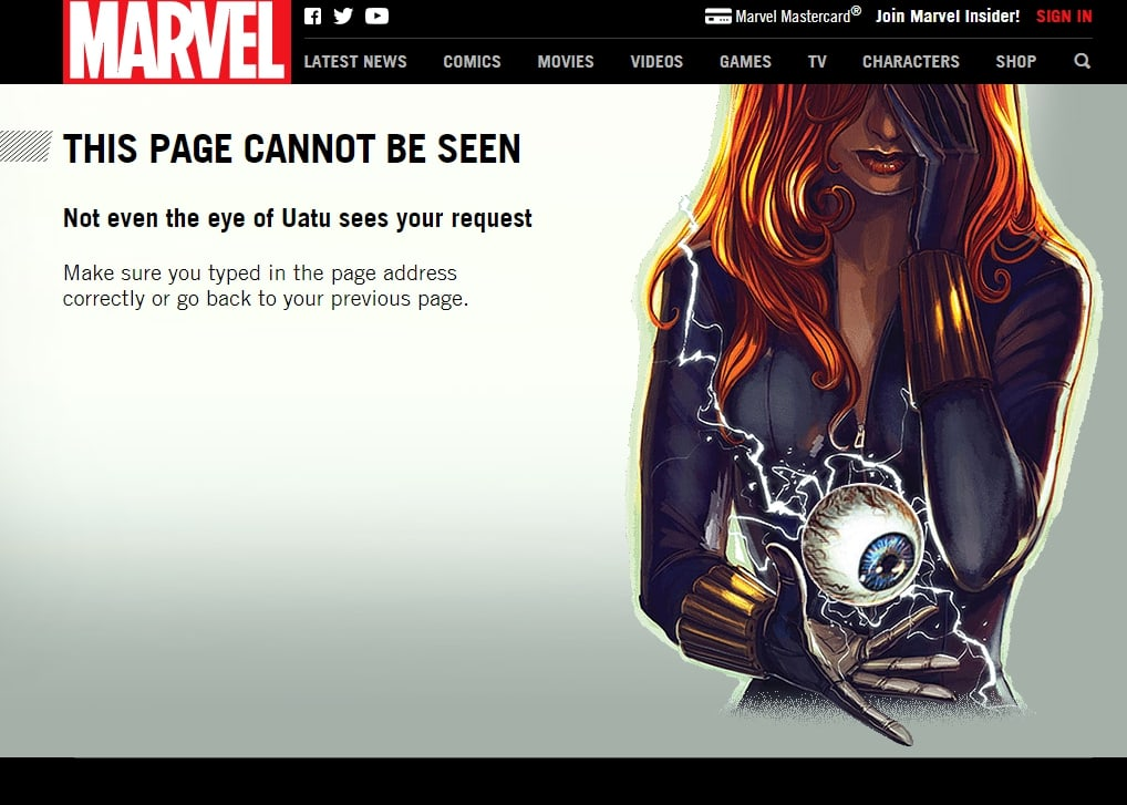 Marvel 404 page example