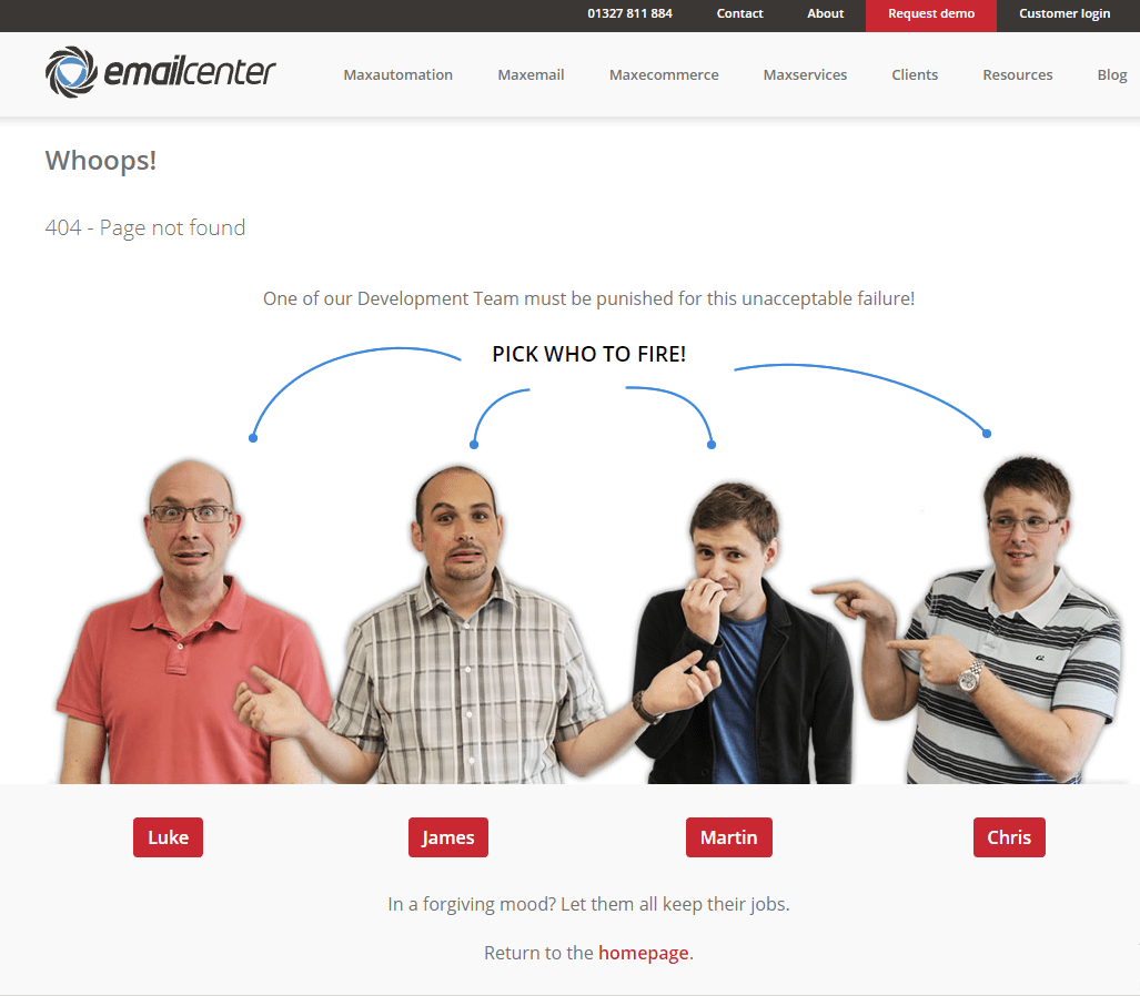 Email center 404 page example