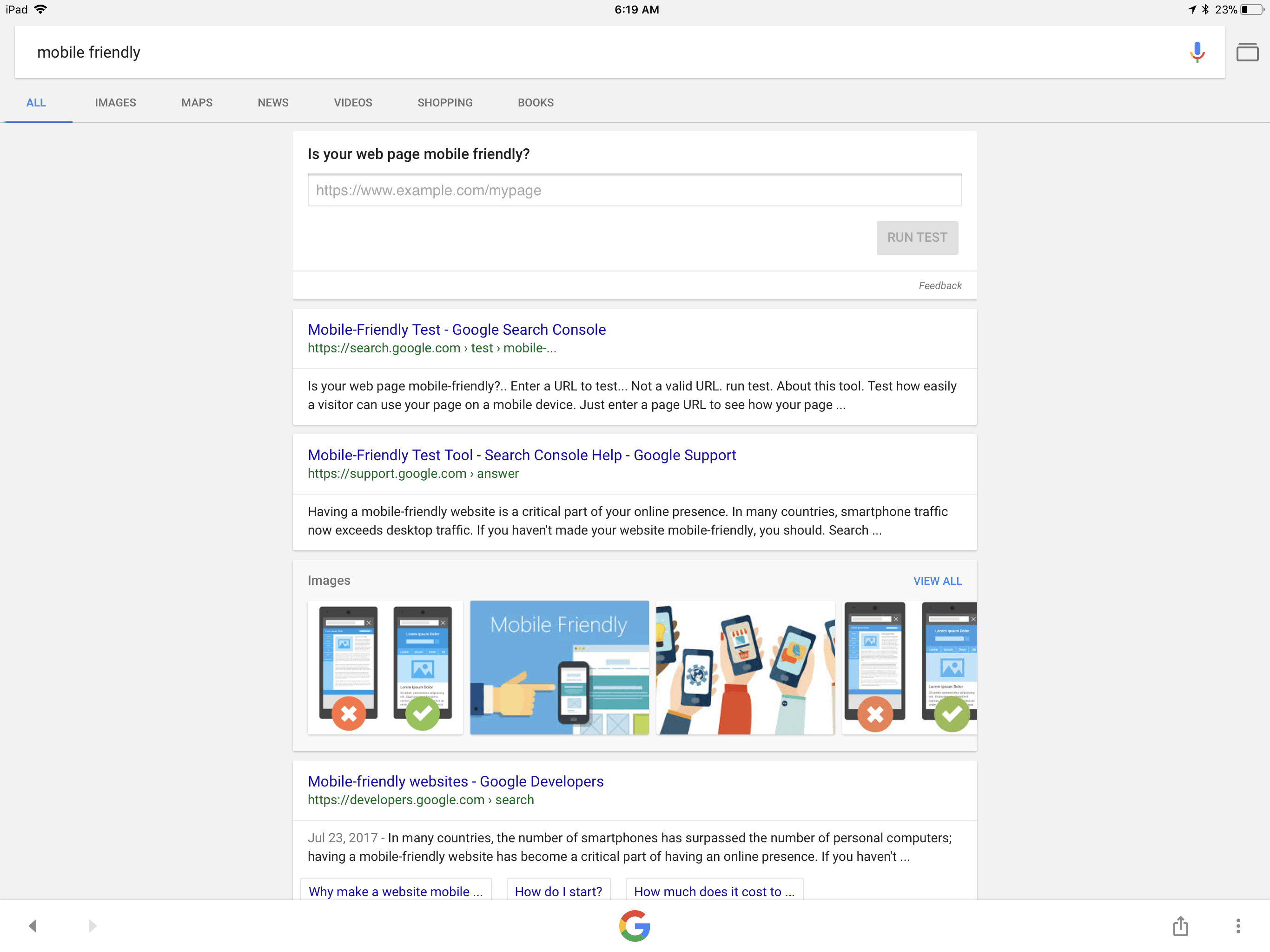 Google Mobile-Friendliness Test Shortcut in Search Results
