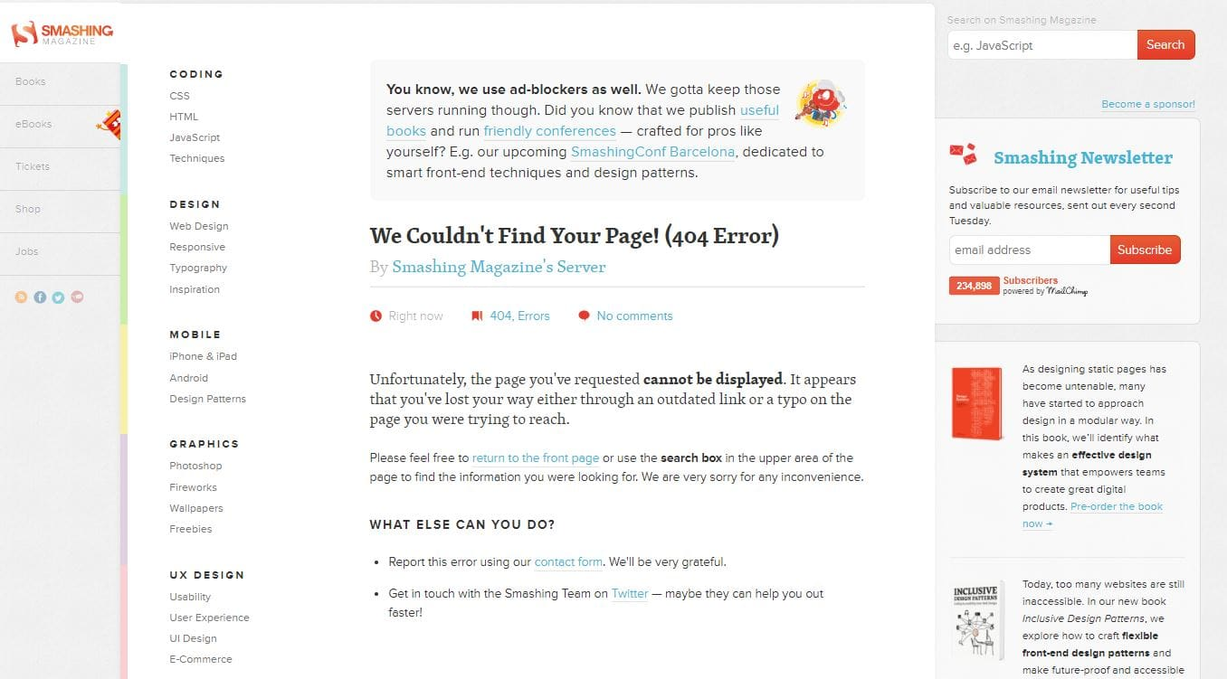 Smashing magazine 404 error page example