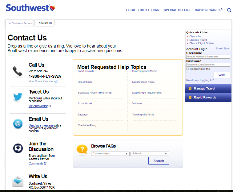 Southwest Contact Us Page