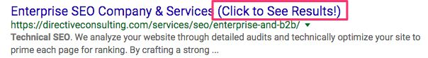 Example of Enticing Headline in SERPs