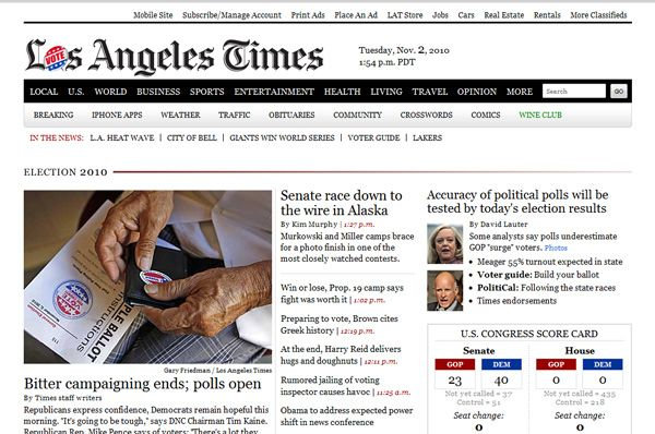 Los Angeles Times Home Page