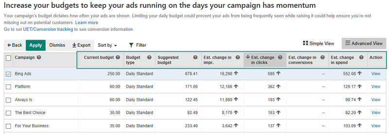 View Bing Ads Conversion Estimates Based on Budget Suggestions