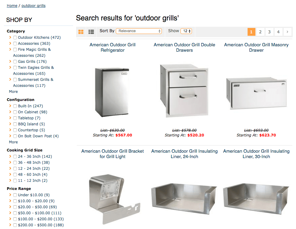 E-commerce Search Results Page