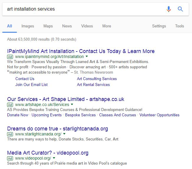 Example of Competitors for Art Installation Services