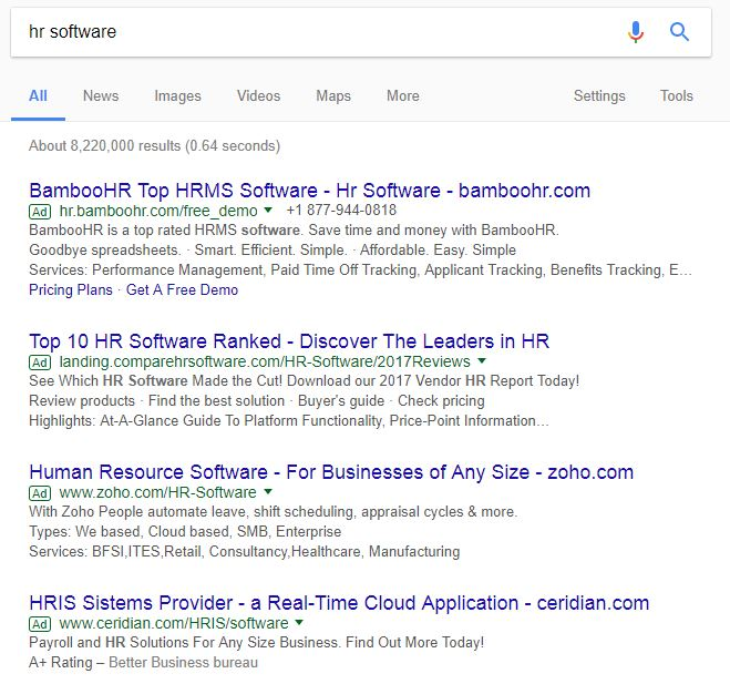 Example HR Software Competitors