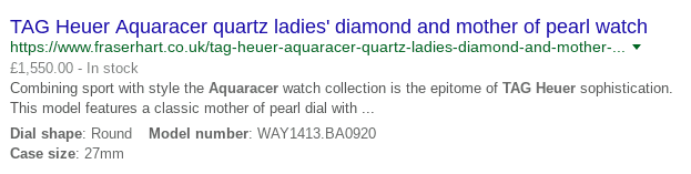 Example of a search result with rich snippets