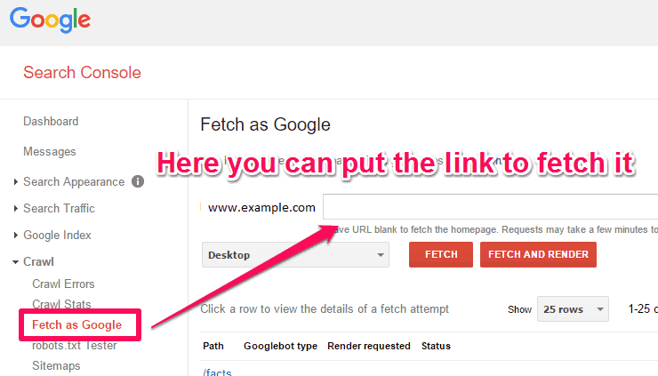 How to use Fetch as Google