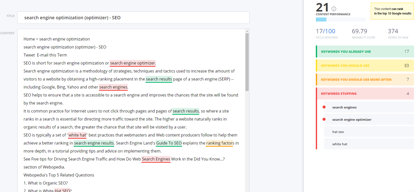 Example of keyword stuffing from Webopedia using a content optimization tool