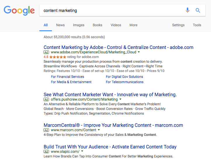 content marketing Google Search Adwords