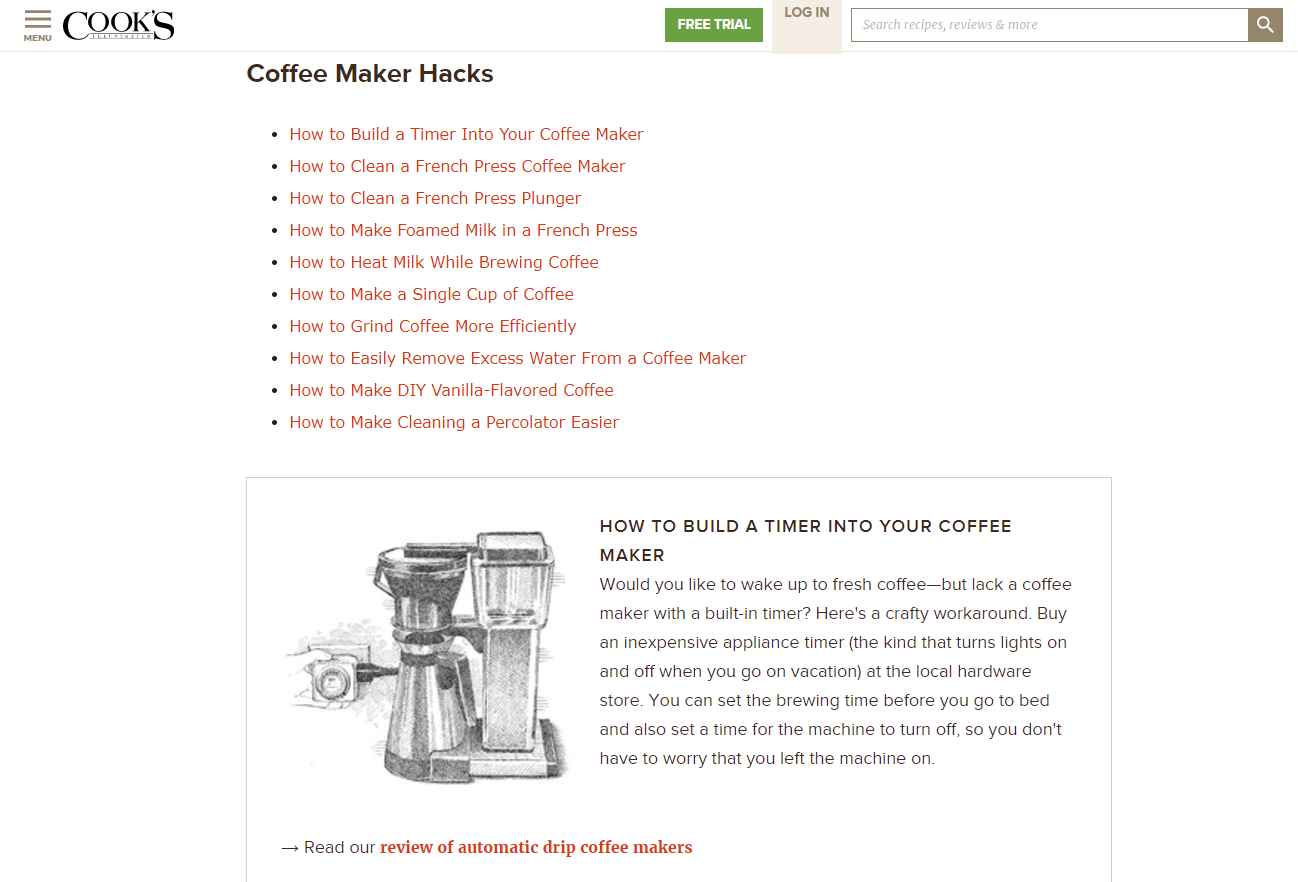 Cook's Coffee Maker Hacks