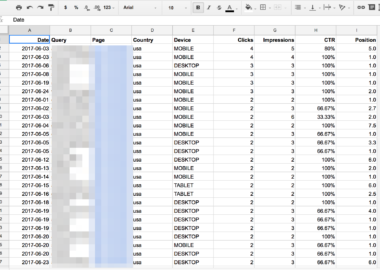 search analytics spreadsheet