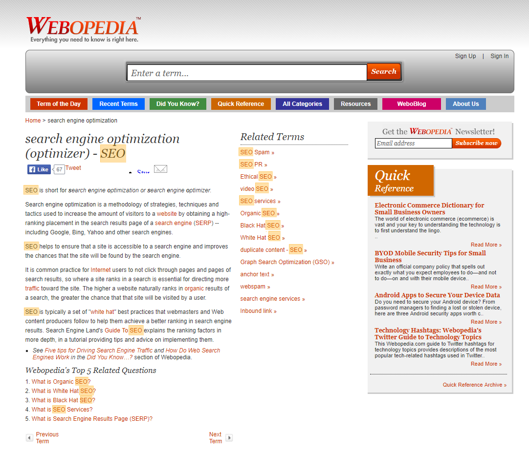 Example of thin content from Webopedia in 2014